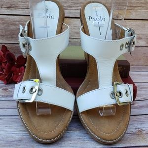 Linea Paolo 9 Slide Wedge Sandals White Buckles